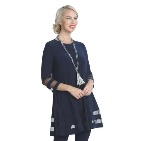 IC Collection Tunic with Double Mesh Stripe in Navy - 2517T-NVY