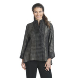 IC Collection Dot Print High-Low Jacket in Taupe/Black - 2782J-TAU - Size XXL Only