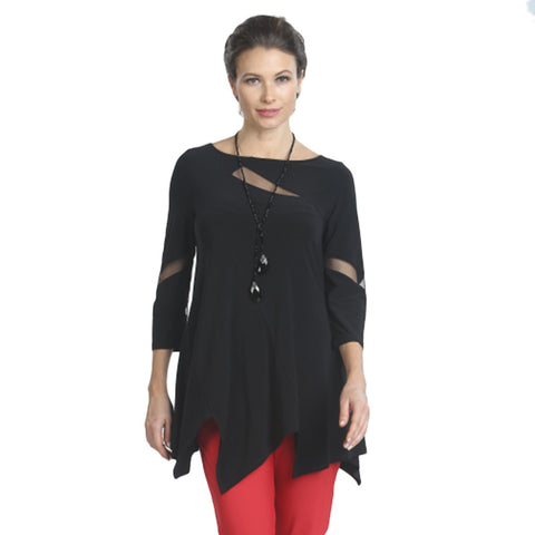 IC Collection Mesh Cut-out Tunic in Black - 2991T-BLK