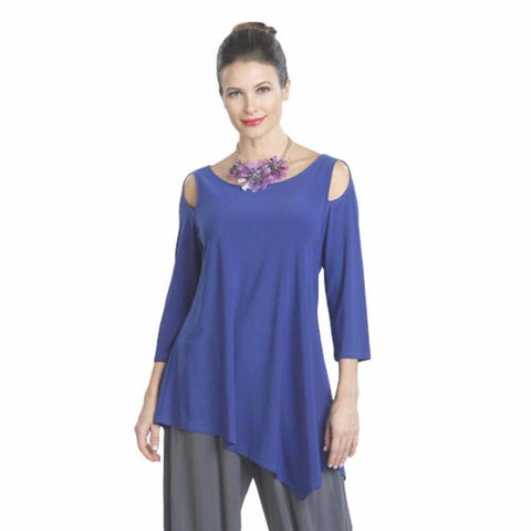 IC Collection Solid Angle Hem Cold Shoulder Tunic in Cobalt - 6615T-COB