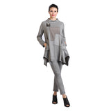 IC Collection Faux Suede Soft Mock Neck Tunic in Gray - 2002T-GRY