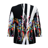 "Valentina ""Rio"" V-Neck Abstract Print Top in Multi/Black - 20038-1"