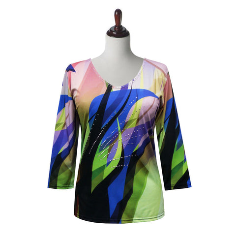 "Valentina ""Gaugin"" V-Neck Abstract Print Top in Multi - 20083"