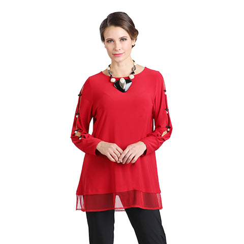 IC Collection Ladder Sleeve w/Pearls Tunic Top in Red - 2011T-RD