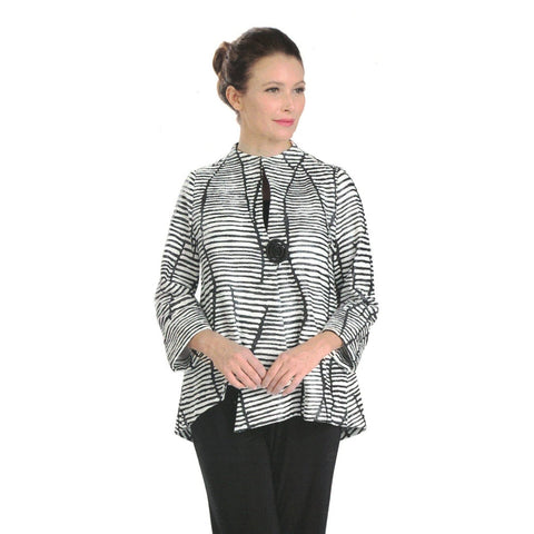 IC Collection Textured Striped Asymmetric Jacket in Black /White - 3014J -BW