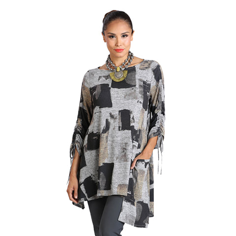 IC Collection Block Print Ruched Sleeve Tunic in Bronze/Grey - 2019T-BRZ
