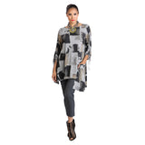 IC Block Print Ruched Sleeve Tunic in Grey/Multi - 2019T-GRY - Sizes S & M Only
