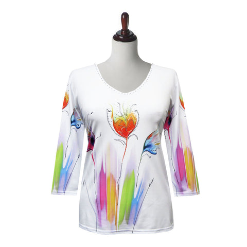 "Valentina ""Tulips"" V-Neck Floral Print Top in Multi/White - 20214"