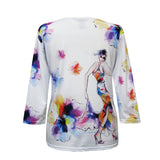 "Valentina ""Paris"" Abstract V-Neck Print Top in Multi/White - 20218"