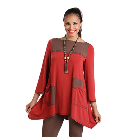 IC Collection Soft Knit Patch Pocket Tunic in Rust/Brown - 2021T-RED