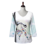 "Valentina ""Melody"" V-Neck Print Top in Multi/White - 20220"