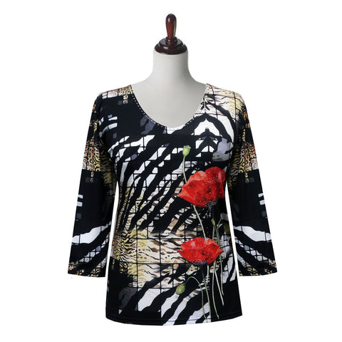 "Valentina ""Jessica"" V-Neck Floral Print Top in Multi/Black - 20225"