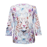 "Valentina ""Tyger Tyger"" V-Neck Print Top in Multi- 20253"