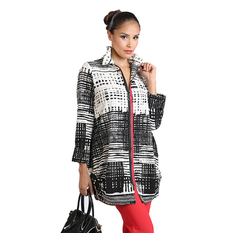 IC Collection Long Geo Stripe Zip Front Jacket in Black/White/Red - 2025J