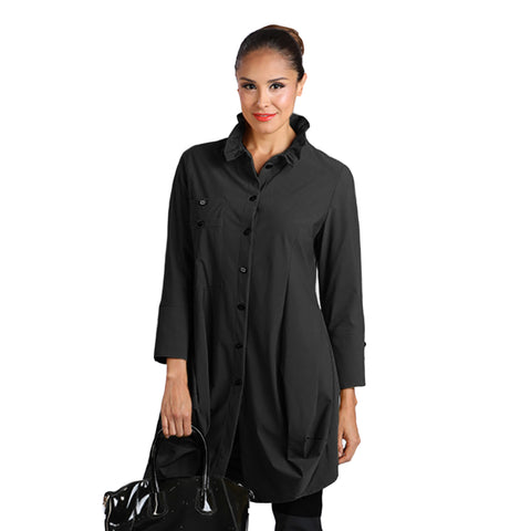 IC Collection Long Parachute Shirt in Black - 2030J