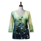 "Valentina ""Camille"" V-Neck Abstract Print Top in Multi- 20314-1"