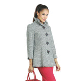 IC Collection Striped Button Front High-Low Jacket in Navy - 2031J-NVY