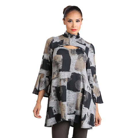 IC Collection Block Print Tunic in Bronze and Gray - 2037T-BRZ