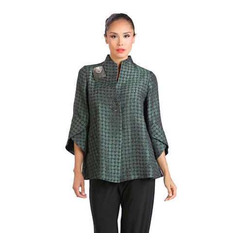 IC Collection Trumpet Sleeve Jacket in Green 2044J-GRN - Sizes S & XXL Only