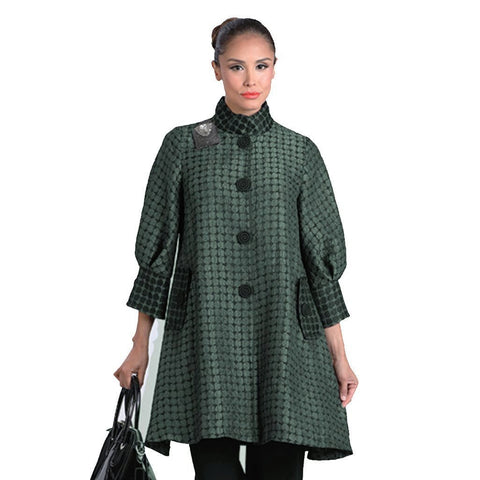 IC Collection Two Tone Swing Jacket in Green- 2066J-GRN - Sizes S, M & XL