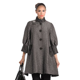 IC Collection Two Tone Button Front Swing Jacket in Taupe/Black  - 2066J-TPE - Size S Only