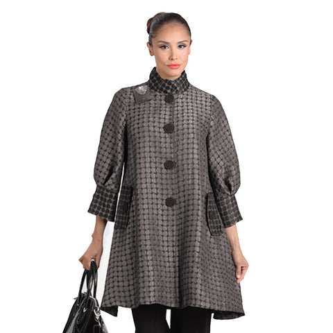 IC Collection Two Tone Dot Button Front Swing Jacket in Taupe/Black  - 2066J-TPE
