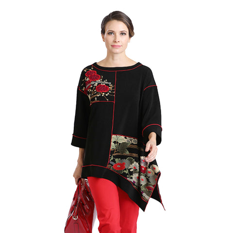 IC Collection Colorblock Floral Tunic in Red/Black - 2077T