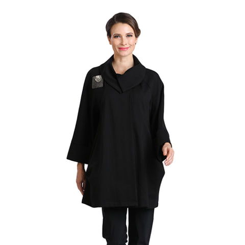 IC Collection  Mid-Length Knit Jacket in Black - 2078JN-BLK