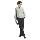 IC Collection Textured Foil Asymmetric Jacket in Gray - 2079J-GRY