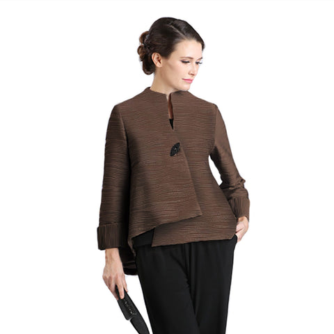 IC Collection Textured Foil Asymmetric Jacket in Brown - 2079J-BRN