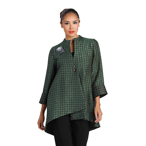 IC Collection Long Asymmetric Jacket in Green - 2082J-GRN - Size S & L Only