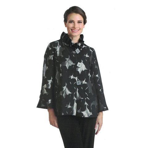 IC Collection Floral Brocade Ruffle Collar Jacket in Silver/Black - 2094J-SLV