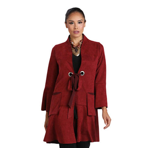 IC Collection Patch Pocket Faux Suede Long Jacket in Wine - 2096J-WINE