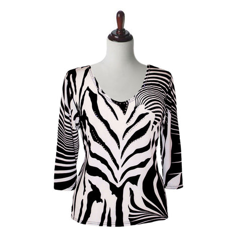 "Valentina Signa ""Zebra Lines"" V-Neck Top in Black & White - 21-1"