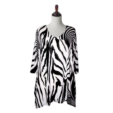 "Valentina Signa ""Zebra Lines"" V-Neck Tunic in  Black & White  - 21-1"