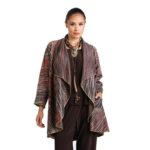 IC Collection Woven Striped Reversible Open Front  Cardigan in Rust Multi - 2107J-RST  ♥ Pre-Order