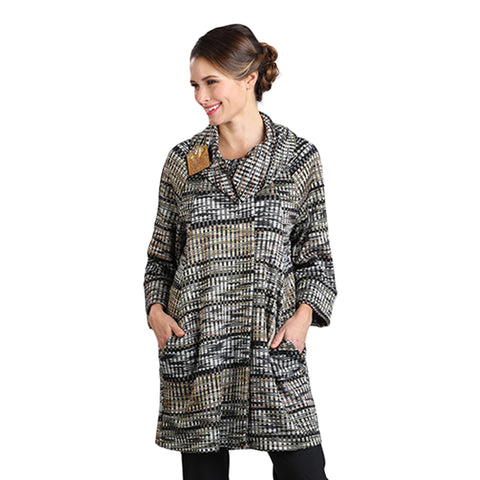 IC Collection Woven Striped Cowl Neck Jacket in Olive Multi - 2108-OLV