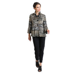 IC Collection Button Front Woven Stripe Jacket in Olive/Multi - 2118J-OLV