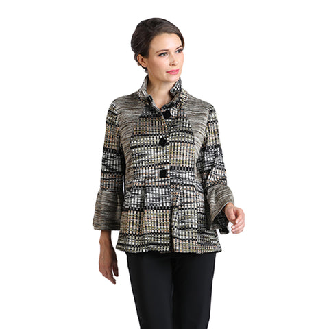 IC Collection Woven Striped Button Front Jacket in Olive Multi - 2118-OLV