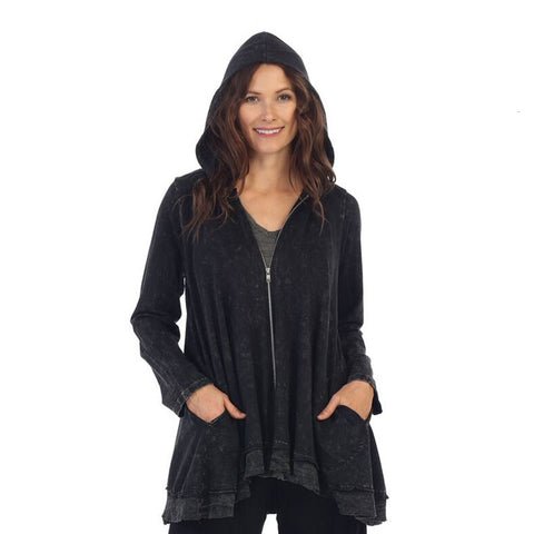 Jess & Jane Mineral Washed French Terry Hoodie Jacket - M44-BLK