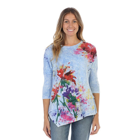 "Jess & Jane ""Floral Poem"" Mineral Washed Cotton Tunic Top in Blue/Multi - M41-1123 - Size M Only"
