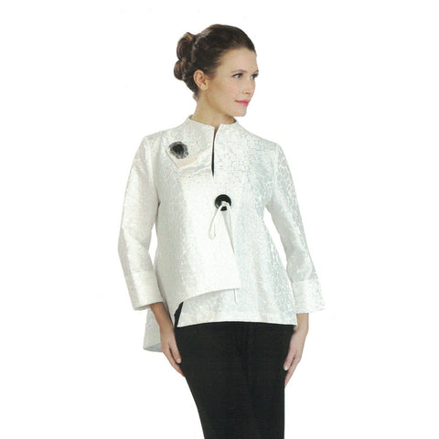 IC Collection Jacquard Asymmetric Jacket in White - 2125J-WHT ♥ Just In!