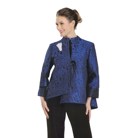 IC Collection Jacquard Asymmetric Jacket in Blue/Black - 2125J-BLU