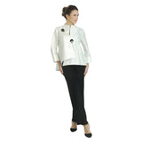 IC Collection Jacquard Asymmetric Jacket in White - 2125J-WHT