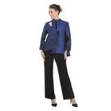 IC Collection Jacquard Asymmetric Jacket in Blue/Black - 2125J-BLU - Sizes L - XXL Only