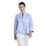 IC Collection Jacquard Asymmetric Jacket in Sky Blue - 2125J-SKY