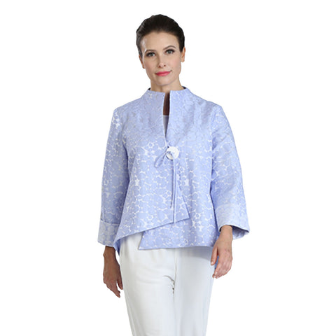 IC Collection Jacquard Asymmetric Jacket in Sky Blue - 2125J-SKY - Sizes S, M & XXL Only