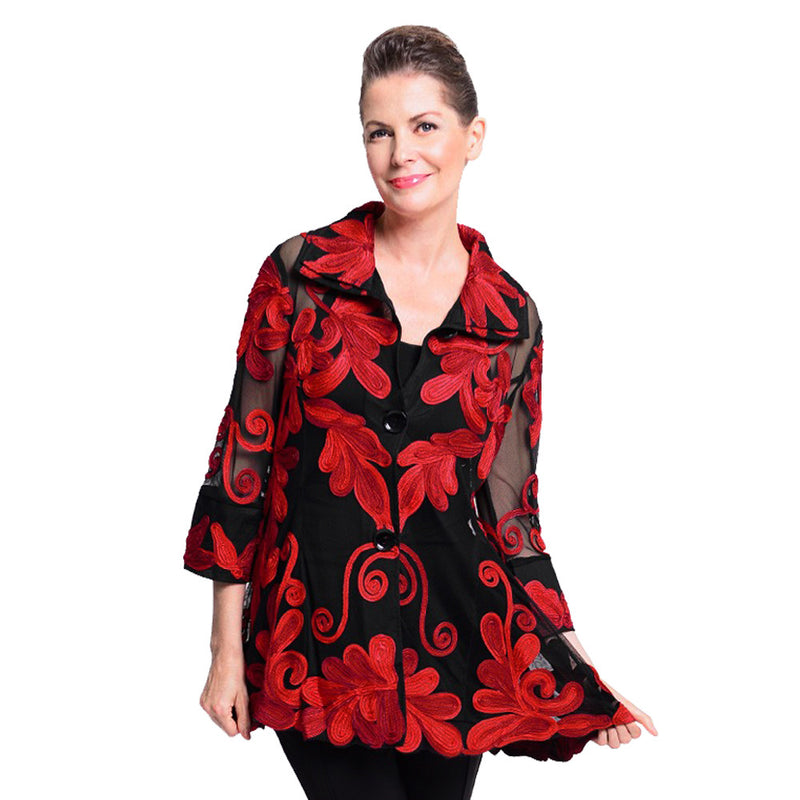Damee Dressy Soutache & Mesh Jacket in Red -  2132RD - Sizes S and M Only