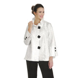 IC Collection Jacquard Jacket with Ruffle Detail Collar in White - 2132J-WT