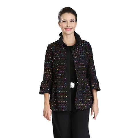 IC Collection Laser Cut Embellished Mid-Length Button Front Jacket in Multi/Black-  2133J